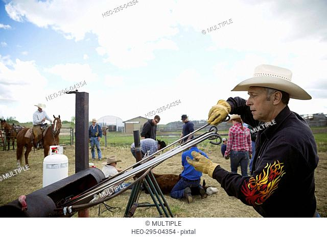 Cattle rancher with branding irons at fire