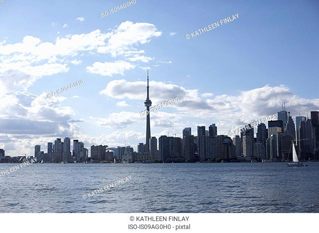View of Lake Ontario and Toronto city skyline, Canada