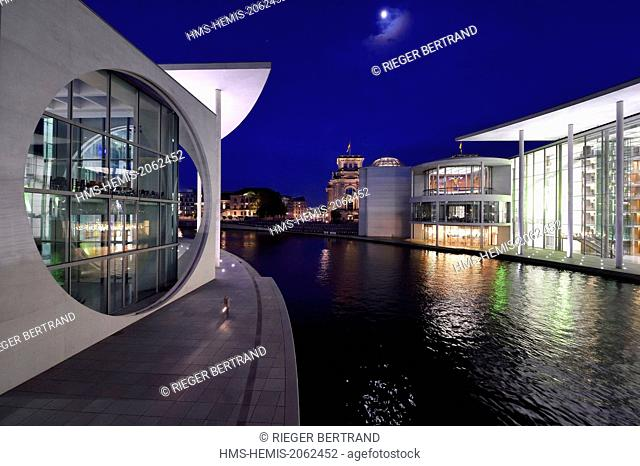 Germany, Berlin, Bundestag, the Paul-Lobe Haus right and the Marie Elisabeth Luders Haus left by architect Stephan Braunfels on Spree River banks