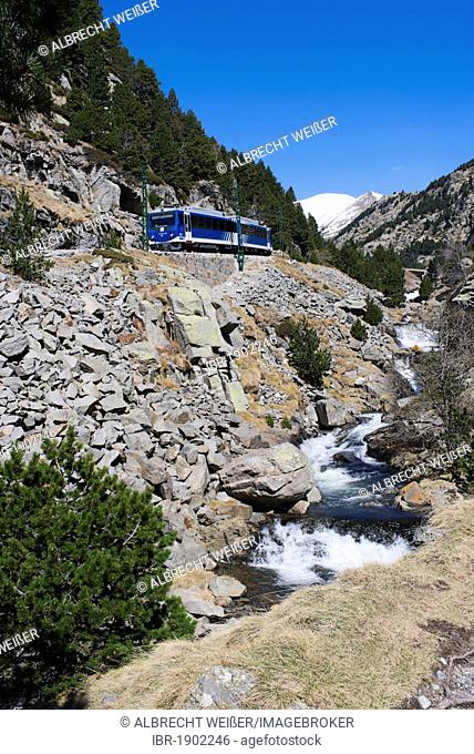 Cremallera de Núria rack railway in the Vall de Núria valley, Pyrenees, northern Catalonia, Spain, Europe