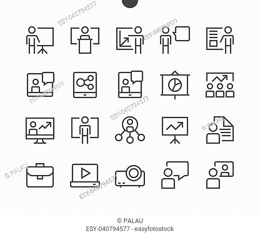 Business Presentation Outlined Pixel Perfect Well-crafted Vector Thin Line Icons 48x48 Ready for 24x24 Grid for Web Graphics and Apps with Editable Stroke