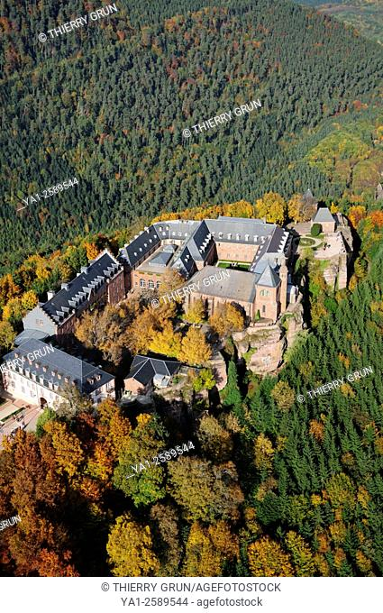 France, Bas Rhin 67, Ottrott, convent of Mt Sainte-Odile aerial view