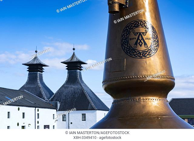 View of Ardbeg Distillery on island of Islay in Inner Hebrides of Scotland, UK