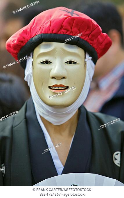 A participant in the Arashiyama Maple Leaf Festival
