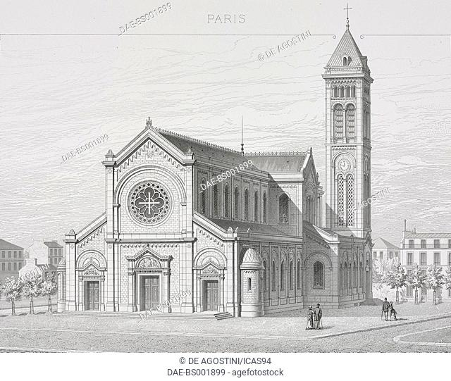 Perspective view of the Church of Notre-Dame-des-Champs in Paris, designed by Leon Ginain, France, engraving by Boisset, from Paris