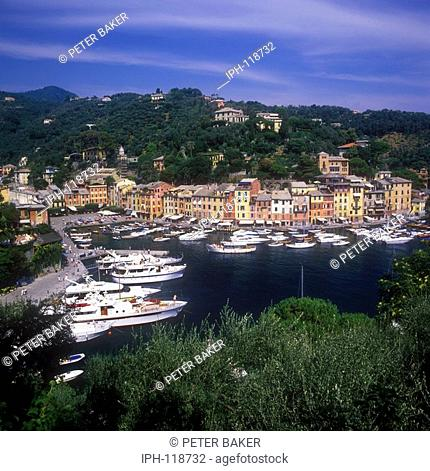 View over the picturesque fishing village of Portofino on the Italian Riviera