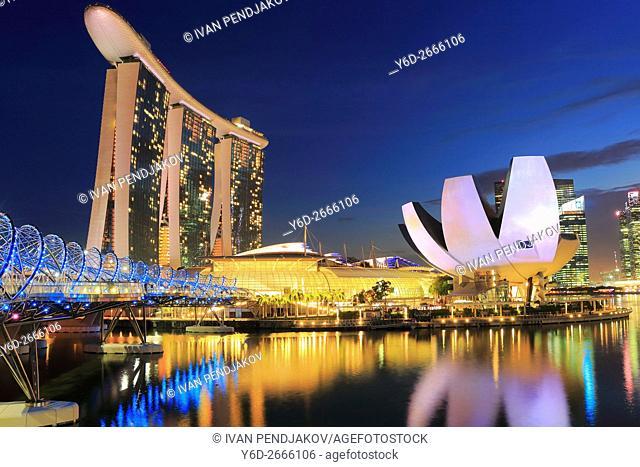 Marina Bay Sands, Art Science Museum and Helix Bridge at Dusk, Singapore