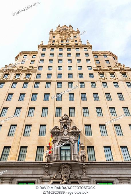Edificio Telefónica in Gran Vía. Madrid. Spain