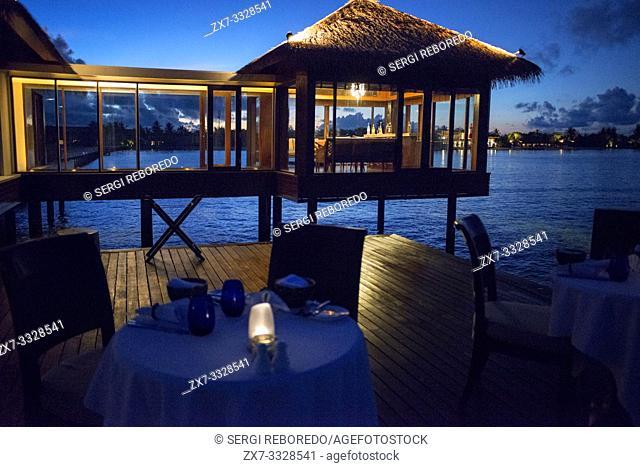 The Residence Hotel and Resort restaurant, Gaafu Alifu Atoll. Maldives Islands