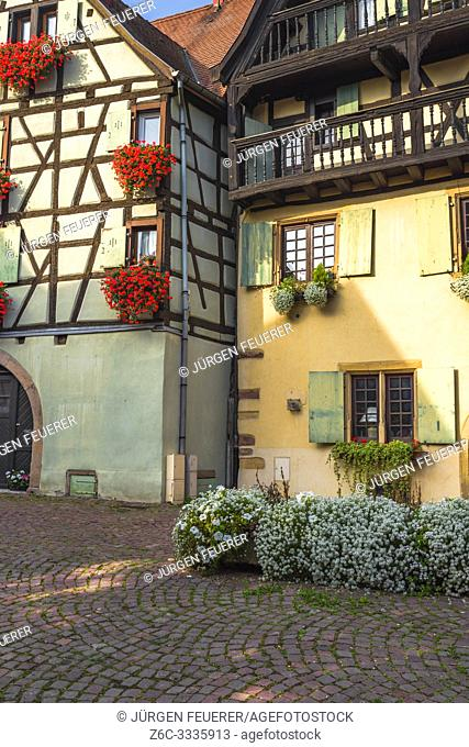 houses in the old village Eguisheim, France, timber frame architecture of the Alsace