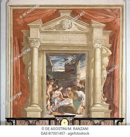 Nativity, painting attributed to Pier Francesco Mazzucchelli known as Morazzone (1573-1626), apse wall in the Church of Madonna in Campagna, Castiglione Olona