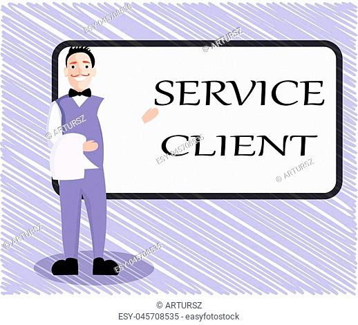 Text sign showing Service Client. Conceptual photo Dealing with customers satisfaction and needs efficiently