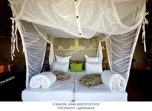 Room at Onkoshi camp, Etosha National Park, Namibia, Africa