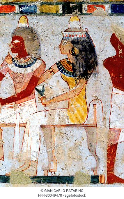 Luxor, Egypt, tomb of Menna or Menena (TT69) in the Nobles Tombs (Sheikh Abd El-Qurna necropolis): beautiful scenes of life