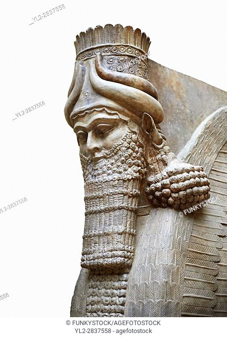 Stone statue of a winged bull. Reproduction from the facade of the throne room, Inv AO 30043 from Dur Sharrukin the palace of Assyrian king Sargon II at...