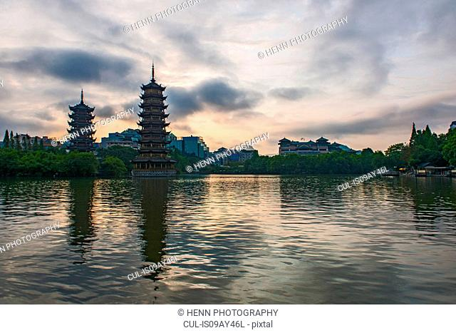 Sun and moon pagodas at Shan lake in Guilin, Guangxi, China