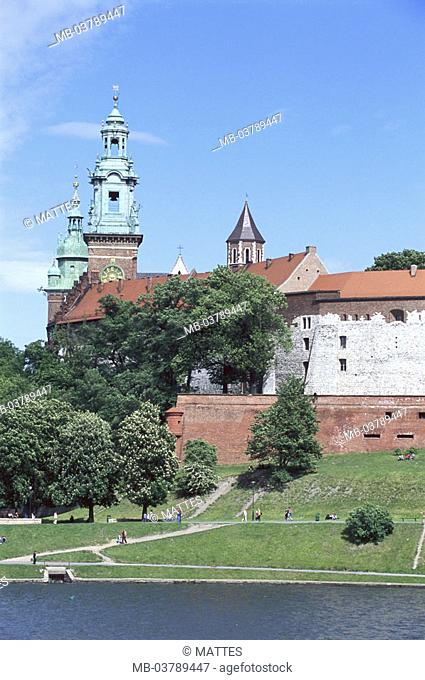 Poland, Cracow, Wawel-Anhöhe,  Palace, cathedral, detail, park,  Europe, city, district, palace hills, Wawel, Wawel-Hügel, sight, architecture, palace buildings