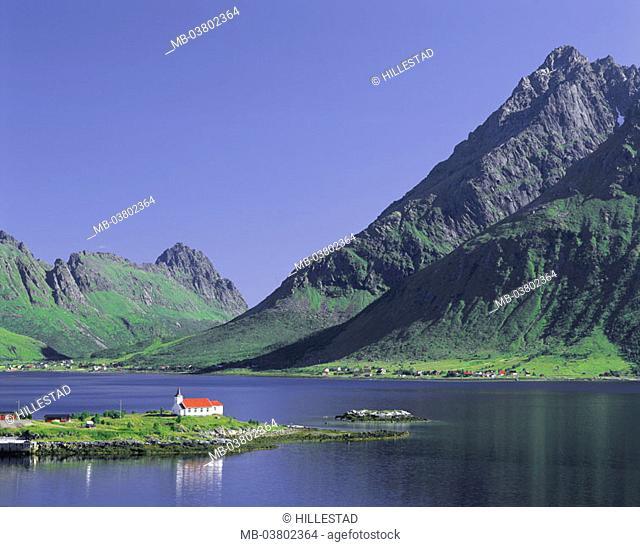 Norway, Fylke North country, Lofoten,  Island Austvagoy, Austnesfjorden,  Sildpollen, church, mountains, summer, Europe, Northern Europe, Scandinavia