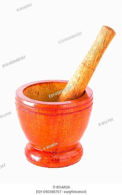 Mortar and pestle on a white background