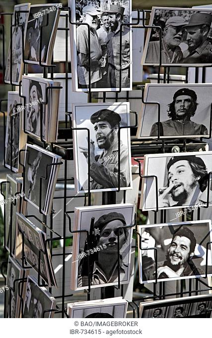 Che Guevara and Fidel Castro postcards, Cuba, Caribbean