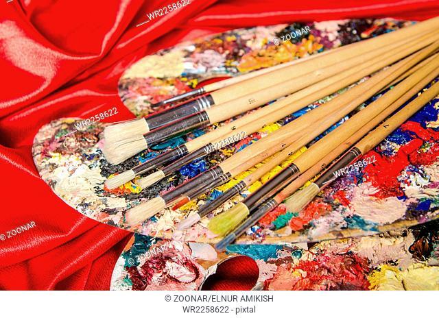 The artist palette in art concept