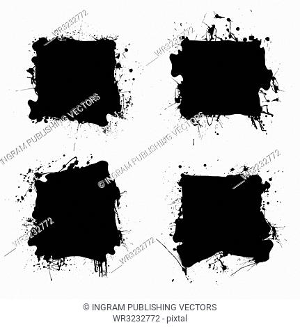 Collection of four ink splats with grunge effect and room for text