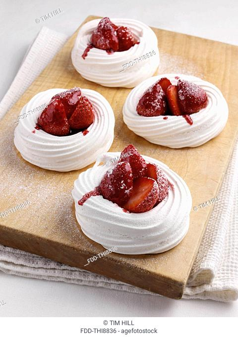Strawberry meringue nests
