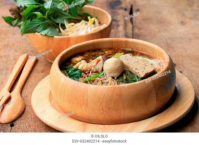 Beef noodles in soup asian style