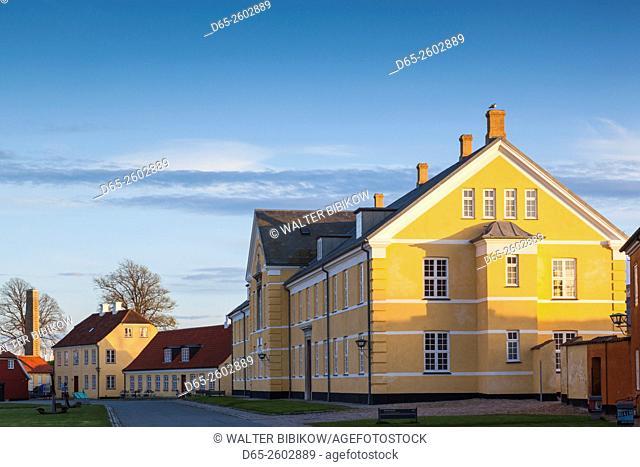 Denmark, Zealand, Helsingor, Kronborg Castle, also known as Elsinore Castle from Shakespeare's Hamlet, castle buildings inside castle moat