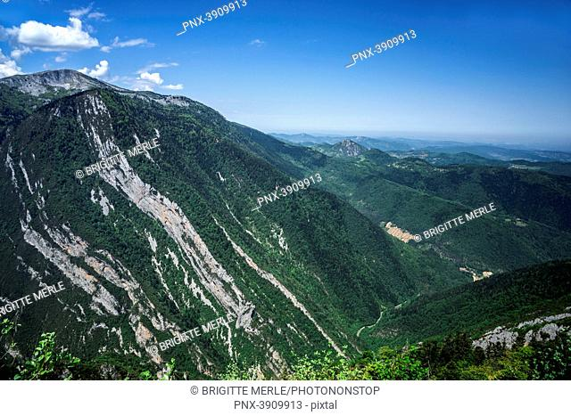 France, Aude, from Pas de l'Ours belvedere, Frau gorges and mountains