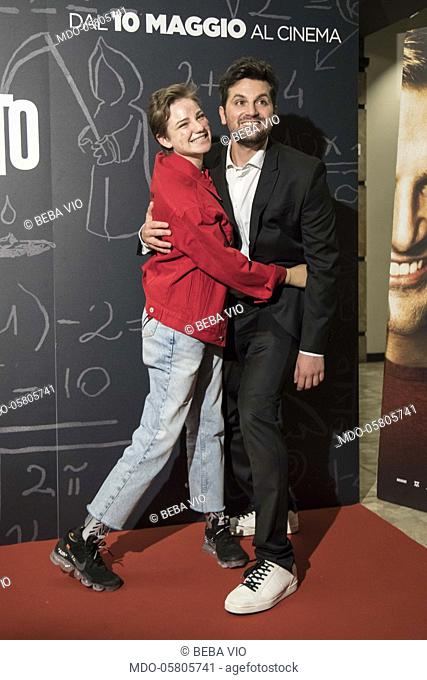 The italian fencer Beba Vio and the italian actor Frank Matano at the photocall of the film Tonno Spiaggiato, directed by Matteo Martinez with Frank Matano at...