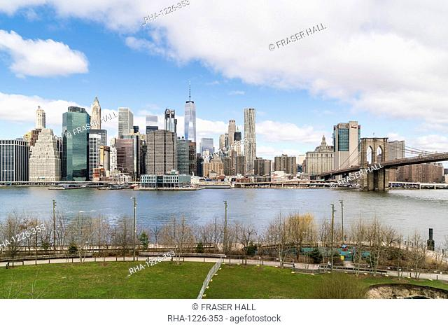 Manhattan skyline and Brooklyn Bridge, New York City, United States of America, North America