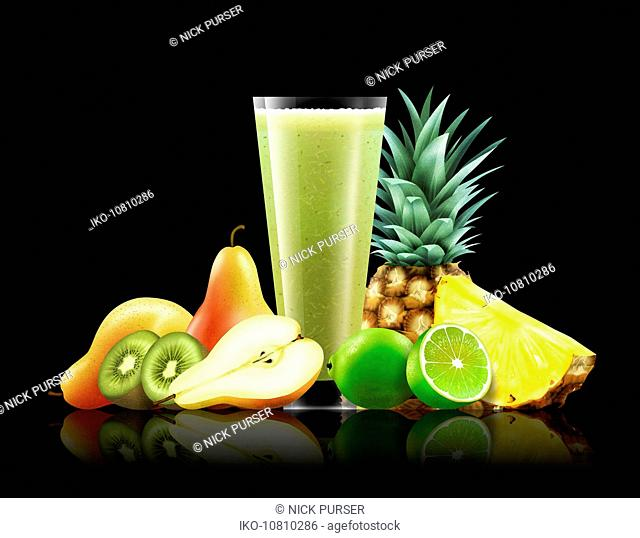 Glass of pear, kiwi, lime and pineapple smoothie