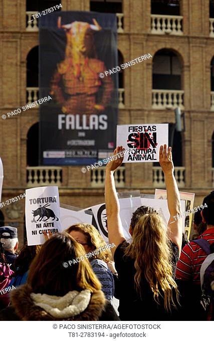 anti-bullfighting demonstration in Valencia, Spain