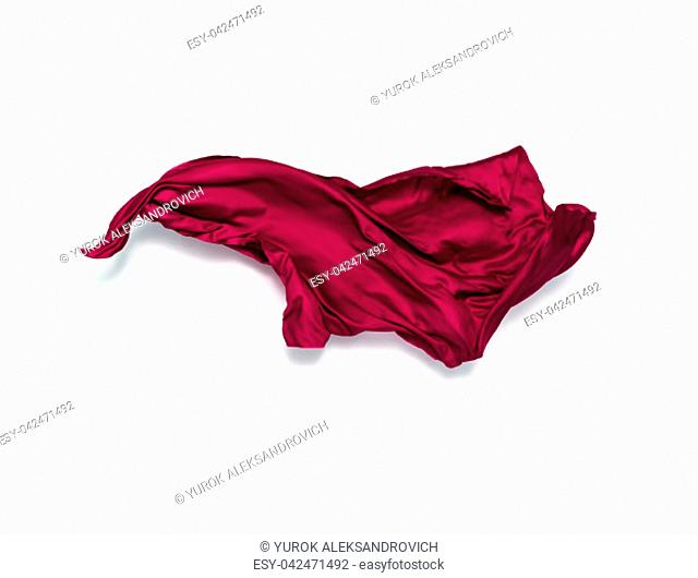 piece of red fabric in motion, design element, high-speed photo