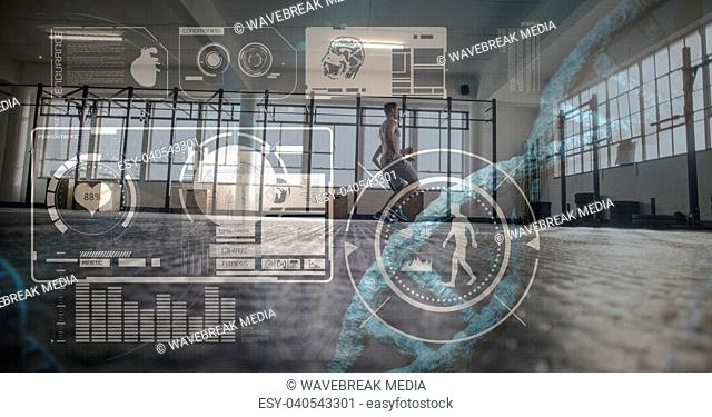 Composite image of training man with digital files and health symbols
