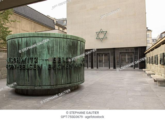 THE SHOAH MEMORIAL IS A MUSEUM DEVOTED TO THE HOLOCAUST AND THE GENOCIDE OF THE SECOND WORLD WAR, 4TH ARRONDISSEMENT, PARIS (75), ILE-DE-FRANCE, FRANCE
