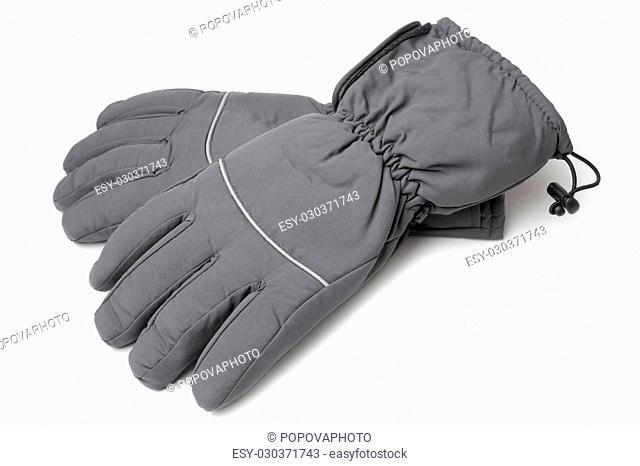 Male warm gloves on white background