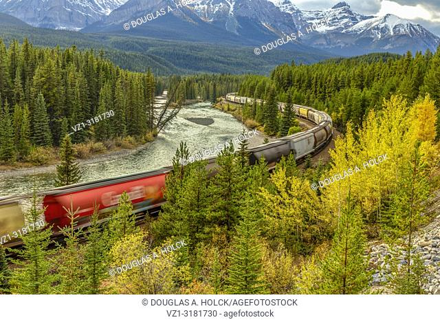 Freight Train on Morant's Curve, Banff National Park, Alberta, Canada