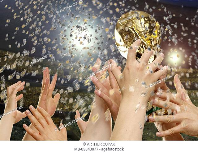 Football, Weltcup, hands, goblet,  holding up, confetti, fuzziness,  no property release,  Sport, team sport, team, soccer team, world masters, joy, jubilation