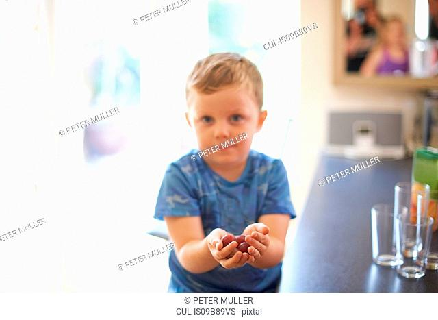 Portrait of boy holding handful of fresh grapes in kitchen