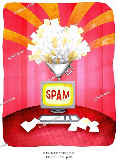 Spam mails with desktop PC, illustration
