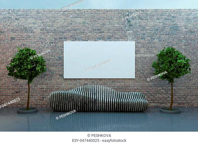 big blank white poster in the middle of brick wall above wooden concept bench outdoors. 3D rendering