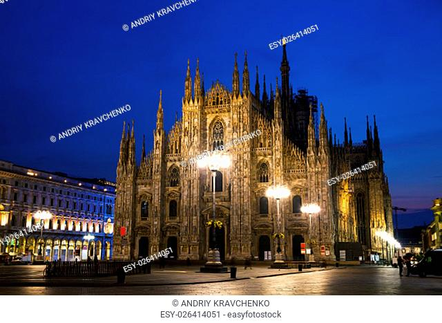 Duomo cathedral early in the morning in Milan, Italy