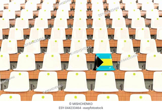 Stadium seat with flag of bahamas in a row of white chairs. 3D illustration