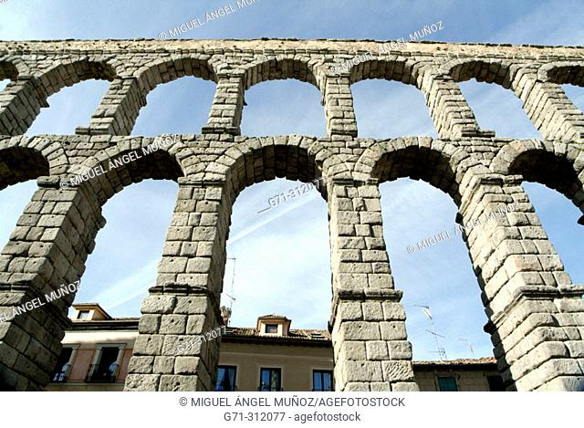 Roman aqueduct built aprox. first century A.D., with 166 arcs composed by 20.000 granite blocks from Guadarrama that are held together without any kind of...