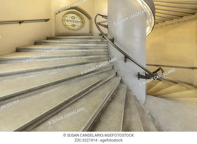 NYPL Jefferson Market Spiral Stairs - Interior view to the spiral staircase of the Jefferson Market Branch, New York Public Library