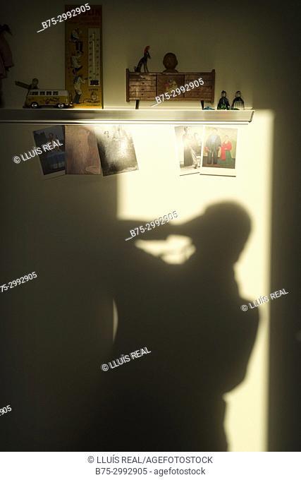 Shadow of photographer taking a photo. Mahon, Menorca, Baleares, Spain