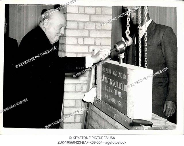 Apr. 23, 1956 - Sir Winston Churchill lays foundation stone: Sir Winston Churchill today laid the foundation stone of the new office building of Cassell &...