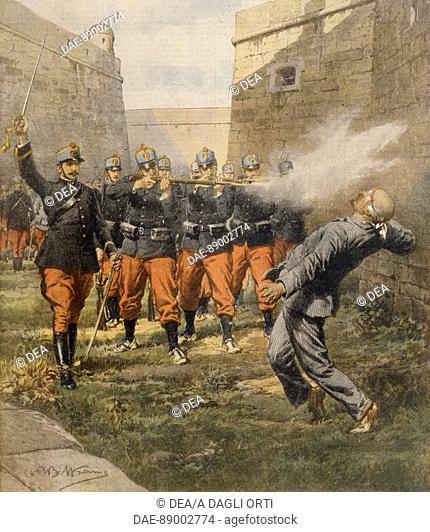 The anarchist Francesco Ferrer's death by firing squad in Barcelona prison. Illustrator Achille Beltrame (1871-1945), from La Domenica del Corriere